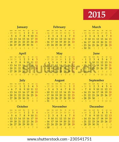 Calendar 2015, vector editable template. Black and red letters on yellow background. Monday - beginning of week. Grid contains numbers of weeks. - stock vector