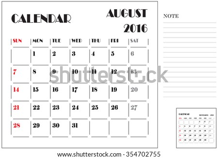 Calendar 2016, Vector Flat Design, Template, August, Weeks, Starts Sunday