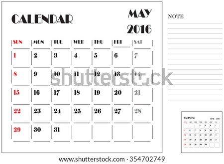 Calendar 2016, Vector Flat Design, Template, May, Weeks, Starts Sunday