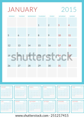 Calendar 2015 vector flat design template. Set of 12 months. Week starts Monday - stock vector
