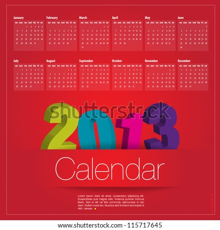 Calendar 2013 vector format - stock vector