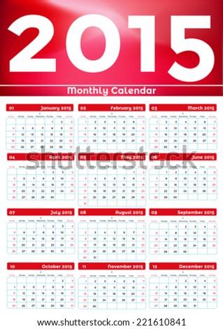 Calendar 2015. Vector, illustration. - stock vector