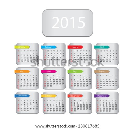 Calendar 2015.Vector illustration. - stock vector