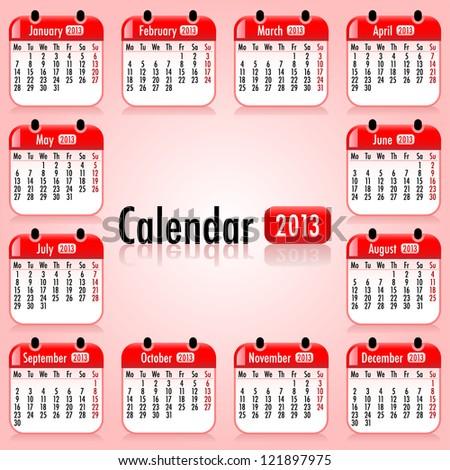 Calendar 2013. Vector illustrations - stock vector