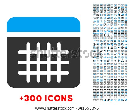 Calendar vector pictogram with additional 300 date and time management icons. Style is bicolor flat symbols, blue and gray colors, rounded angles, white background. - stock vector
