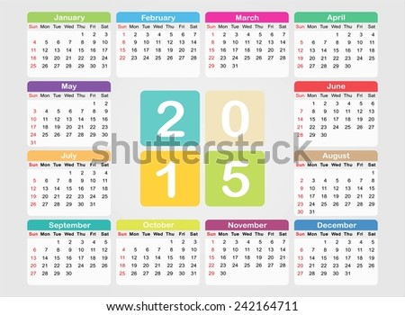 Calendar 2015.Vector template. - stock vector