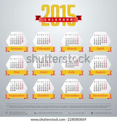 Calendar 2015 vector template week starts monday all month - stock vector