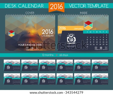 Calendar 2016. Vector Templates all months. Stylish modern colors. Example design gift calendars for Cafes, Shops, Hotels.