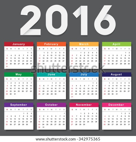 Calendar 2016. Week starts from Sunday.Vector eps10 - stock vector