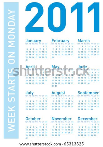 Calendar 2011, Week starts on Monday - stock vector