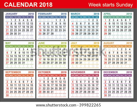Calendar 2018. Week Starts Sunday. Seasons of different colors.