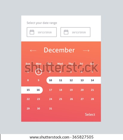 Calendar Widget UI for mobile app and web  - stock vector