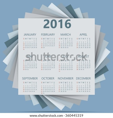 Calendar 2016 with Abstract 3D Geometrical background