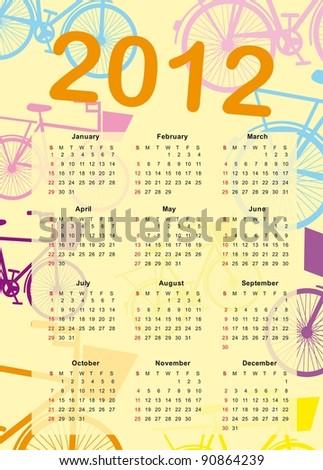 calendar 2012 with bike cartoon vector illustration - stock vector