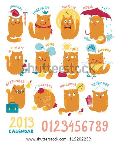 Calendar With Cute Bright Cats - stock vector