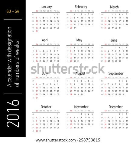 Calendar with designation of numbers of weeks - stock vector
