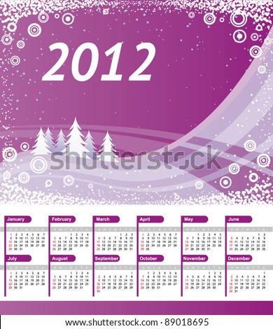 Calendar 2012 with purple wave background