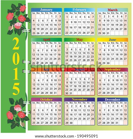 calendar 2015 with roses