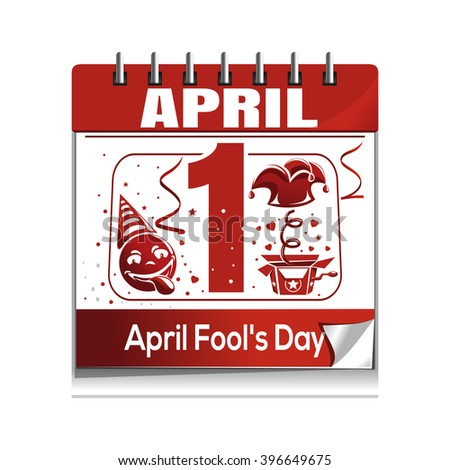 Calendar with the date of 1st April. April 1. April Fool's Day calendar isolated on white background. Fool's Day calendar icon. Vector illustration - stock vector