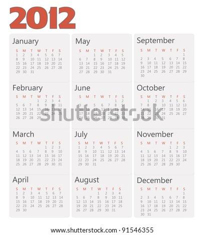Calendar 2012 year - stock vector
