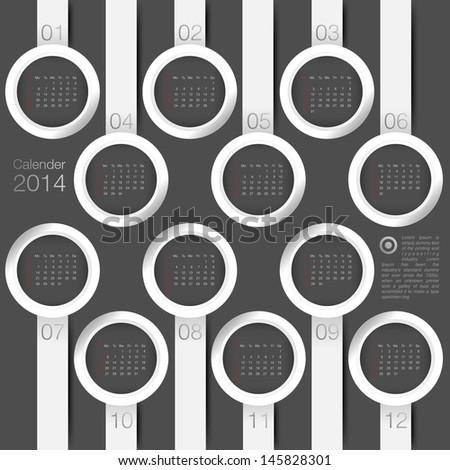 calendar 2014 year circle minimal - stock vector