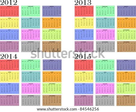 Calendar year in English 2012-2013-2014-2015 - stock vector