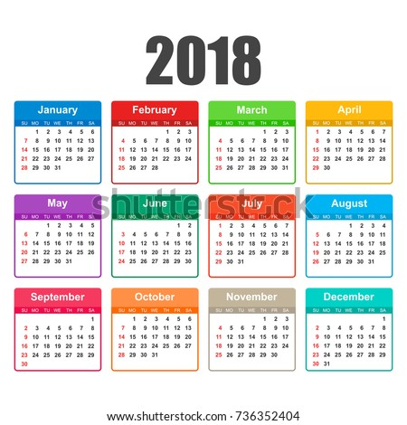 Calendar 2018 year simple style calendar stock vector royalty free calendar 2018 year in simple style calendar planner design template week starts on sunday reheart Image collections