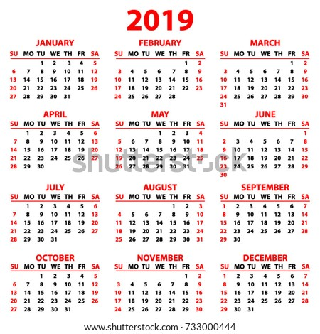 year 2019 calendar hong kong time and date