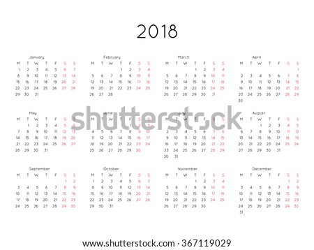 Calendar 2018 year simple style. Week starts from monday