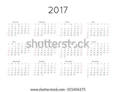 Calendar 2017 year simple style. Week starts from sunday - stock vector