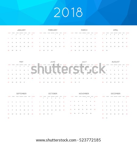 Calendar 2018 year simple style. With abstract geometric triangle mosaic tessllation header,banner. Week starts from sunday