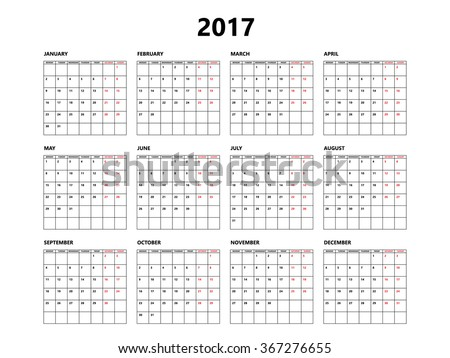Calendar 2017 year simple style with grid. Week starts from monday - stock vector