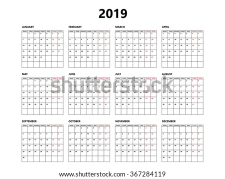Calendar 2019 year simple style with grid. Week starts from monday - stock vector