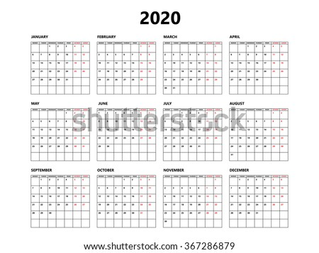 Calendar 2020 year simple style with grid. Week starts from monday - stock vector