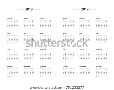 Calendar 2018 2019 Year Template Vector Stock Vector 751233277