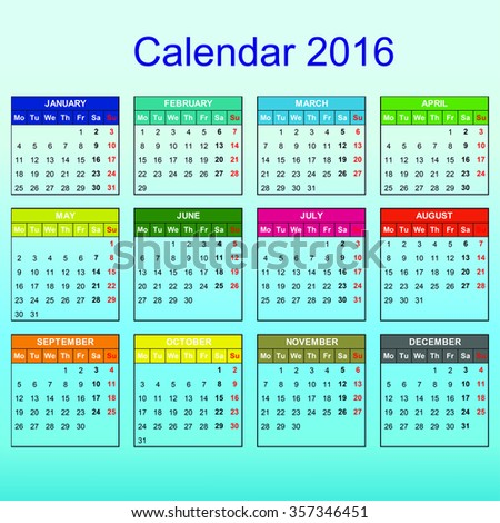 Calendar 2016 year vector design