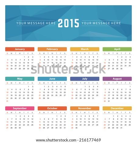 Calendar 2015 year vector design template. - stock vector
