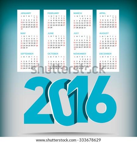 Calendar 2016 year vector design template. - stock vector