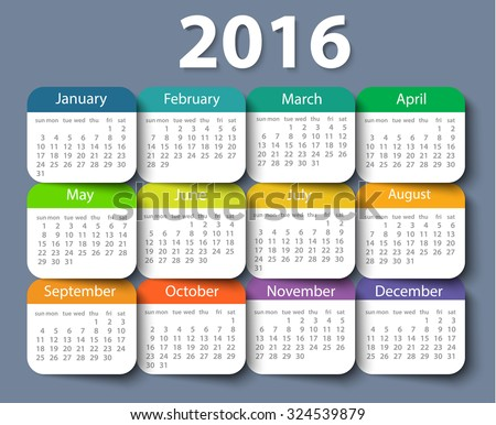 Calendar 2016 year vector design template. EPS10