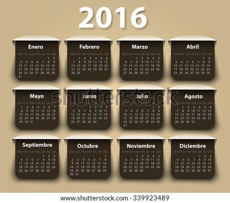 Calendar 2016 year vector design template in Spanish. EPS - stock vector