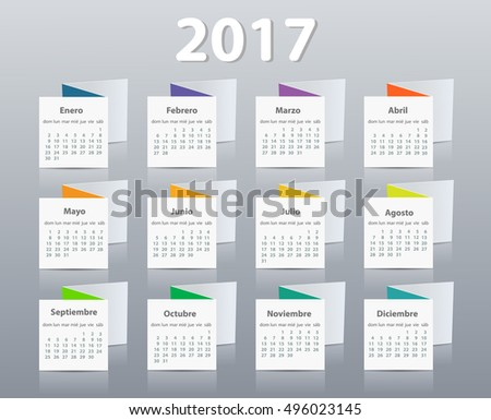 Calendar 2017 year vector design template in Spanish. EPS