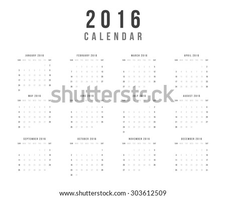Calendar 2016 year vector design template - Minimalism Style - stock vector