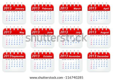 Calendar 2013 year week starts on sunday - stock vector
