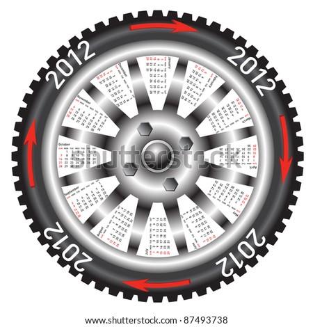 Calendar 2012 year  wheel car. - stock vector