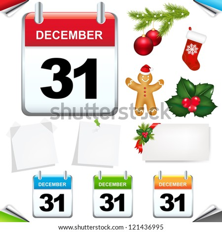 Calendars Set Isolated On White Background, With Gradient Mesh, Vector Illustration - stock vector