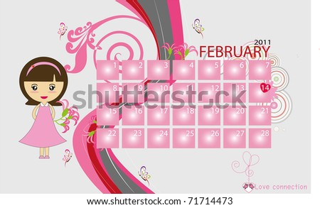 Calender collection for 2011: February - stock vector
