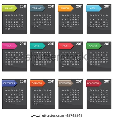 calender for 2011 in black square design with tabs isolated on white - stock vector