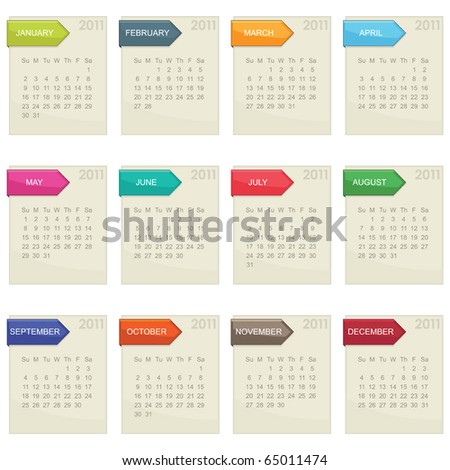 calender for 2011 in square design with tabs isolated on white - stock vector