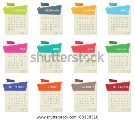 calender for 2012 in square design with tabs isolated on white - stock vector