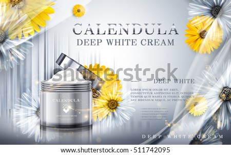 calendula deep white cream ad, contained in cosmetic jars, silver background, 3d illustration